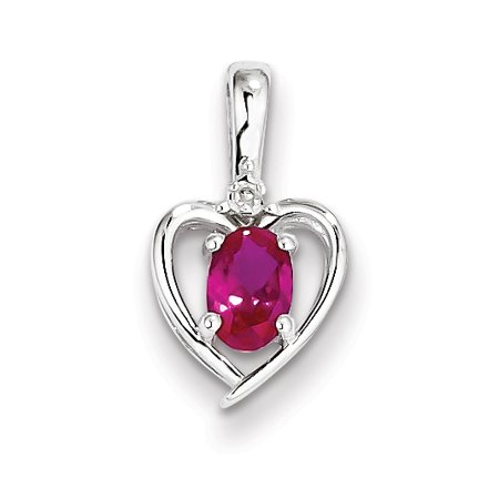 Roy Rose Jewelry Sterling Silver Created Ruby And Diamond Pendant