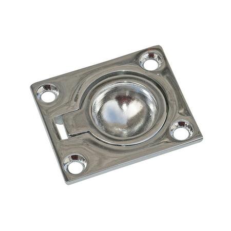 "Five Oceans Square Flush Ring Pull, Chromed Zinc, 1 1/2"" x 1 47/67"" FO-608"