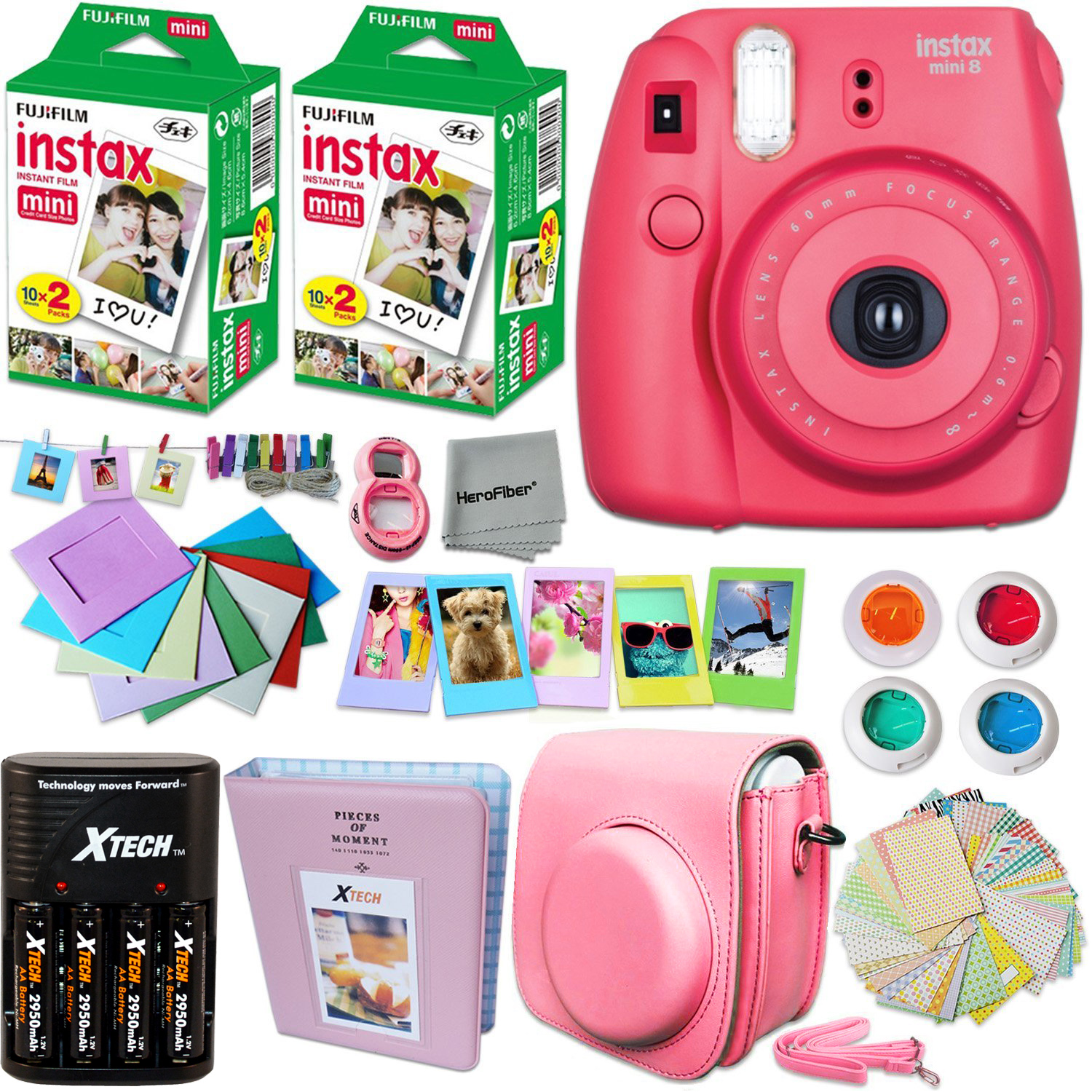 FujiFilm Instax Mini 8 Camera RASPBERRY + Accessories KIT for Fujifilm Instax Mini 8 Camera includes: 40 Instax Film + Custom Case + 4 AA Rechargeable Batteries + Assorted Frames + Photo Album + MORE