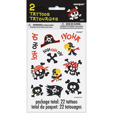 Pirate Temporary Tattoos, 2pk