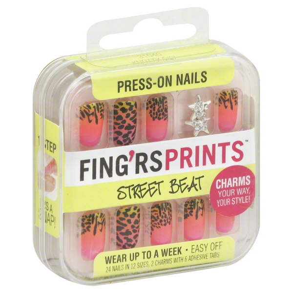 Pacific World Fingrs Prints Press-On Nails, 24 ea