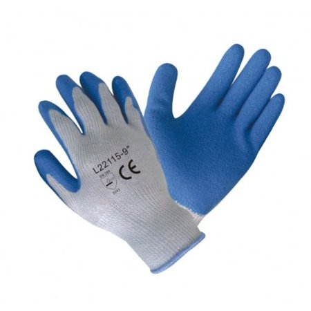 12 Pairs Latex Coated Work Gloves Blue Latex Coated Poly