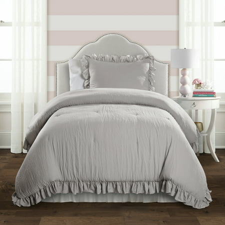 2pc Twin/Twin XL Reyna Comforter & Sham Set Light Gray - Lush Décor