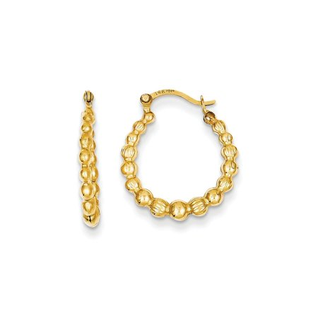 (ICE CARATS 14kt Yellow Gold Beaded Hoop Earrings Ear Hoops Set Fine Jewelry Ideal Gifts For Women Gift Set From Heart)