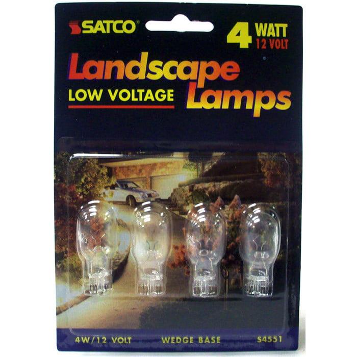 Satco S4551 4W 12V T5 W2.1x9.5d Mini Wedge Landscape Lamps 12V - 4 Light Bulbs