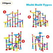 Marble Run Set Toys, 152 PCS Marble Race Track Game 122 Translucent Marbulous Pieces + 30 Glass Marbles, STEM Marble Maze Building Blocks Kids 4+ Year Old