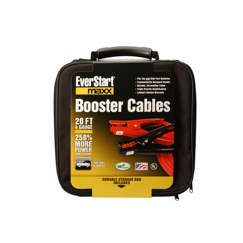 Everstart 08661-77-04 4-Gauge Top Post and Side Terminal Automotive Booster Cables, 20-Feet