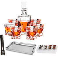 10-Piece Whiskey Decanter Set of Crystal Whiskey Glasses, Whiskey Stones, Stainless Steel Tray and Tongs