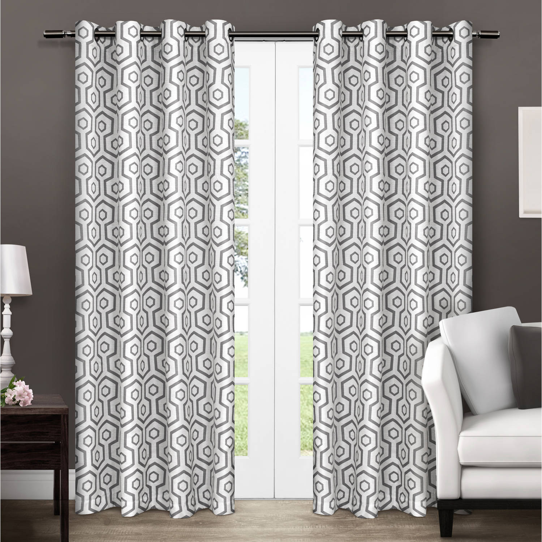 "Exclusive Home Trike Geometric Thermal Grommet Top Window Curtain Panels - 54"" X 84"","