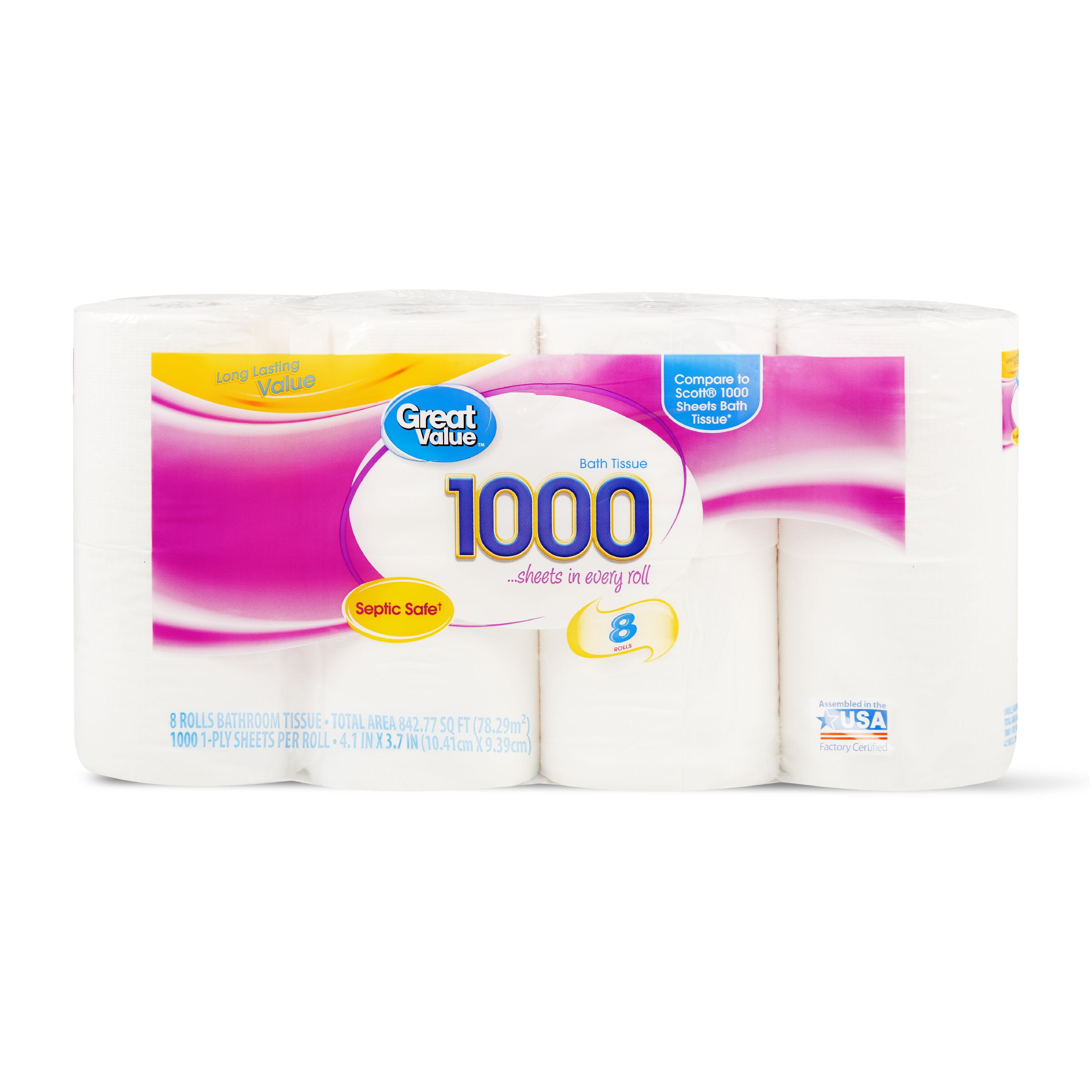 Great Value 1000 SHeet Toilet Paper, 8 Rolls by Wal-Mart Stores, Inc.