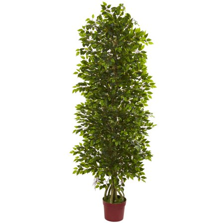 Nearly Natural 6 ft. Four Tier Mini Ficus Artificial Tree UV Resistant (Indoor/Outdoor)