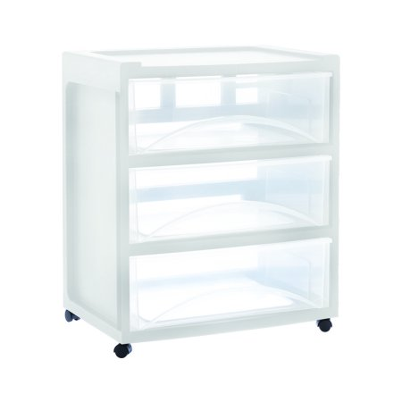 Medium White Wide 3 Drawer Cart