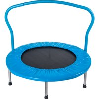 "36"" Mini Trampoline for Kids, Mini Toddler Trampoline w/ Safety Padded Cover, Small Trampolines for Kids, Kids Trampoline w/ Handrail, Exercise Trampoline for Indoor Outdoor, Hold 180 LBS, Blue, R094"
