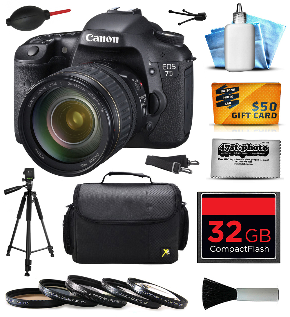 Canon EOS 7D 18 MP CMOS Digital SLR Camera with 28-135mm f/3.5-5.6 IS USM Lens includes 32GB Memory + Large Case + Tripod + 5 Piece  Filters + Dust Blower + Cleaning Kit + $50 Gift Card 3814B010
