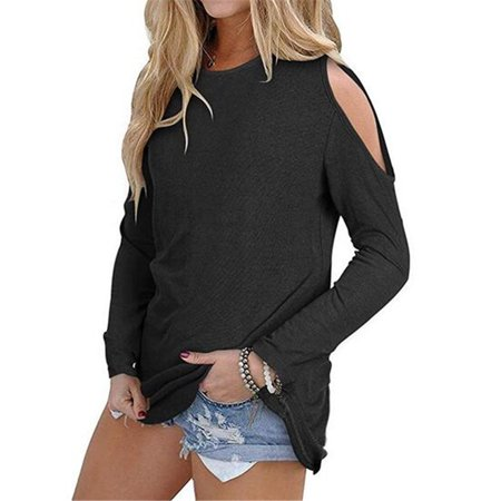 Womens T shirt Casual Loose Round Collar Long Sleeve Solid Strapless Shoulder Tops Blouse Plus size S-5XL