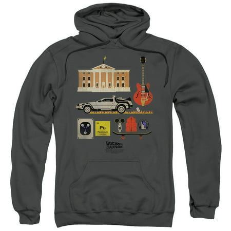 BACK TO THE FUTURE/ITEMS - ADULT PULL-OVER HOODIE - CHARCOAL - LG - Charcoal - LG