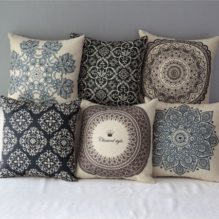 Vintage Geometric Flower Throw Pillow Cushion Cover 18''x18'' Cotton Linen PillowCase Standard Decorative Pillowslip Pillow Protector Cover Case for Sofa Couch Chair Car Seat ()