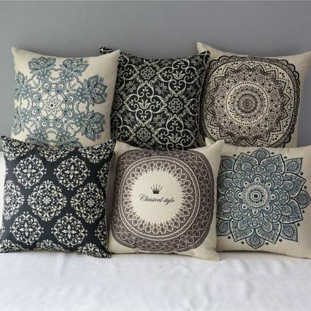 Vintage Geometric Flower Throw Pillow Cushion Cover 18