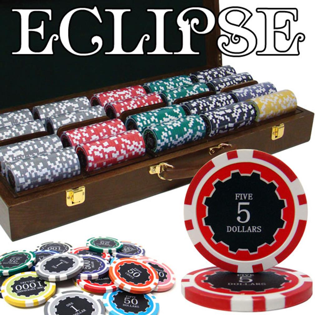 """500 Ct Pre-Packaged Eclipse 14G Poker Chip Set Walnut"" by BryBelly"