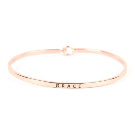 Riah Fashion Inspirational Quote Bar Metallic Bangle - Simple Message Engraved Geometric Cuff Bracelets Christian Bible/Religious/Amazing Grace/Blessed/Faith/Love/Hope