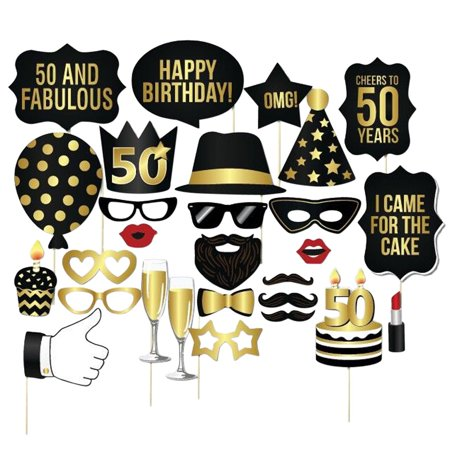 28Pcs Party Props set, Coxeer 30th 40th 50th Birthday Paper Props Decoration Props Photo Props Photo Stick Props for Party
