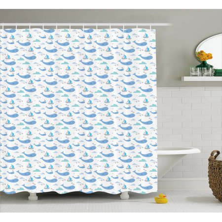 Whale Shower Curtain Marine Life Illustration For Kids Ships Clouds And Wind Fairytale Happiness