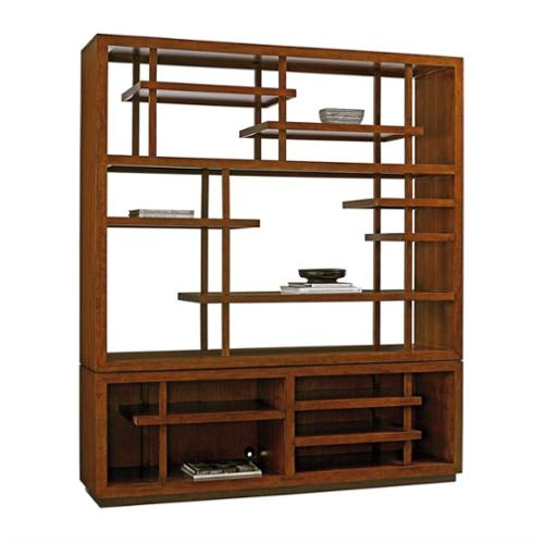 Tommy Bahama Island Fusion Taipei Wood Media Bookcase in Brown