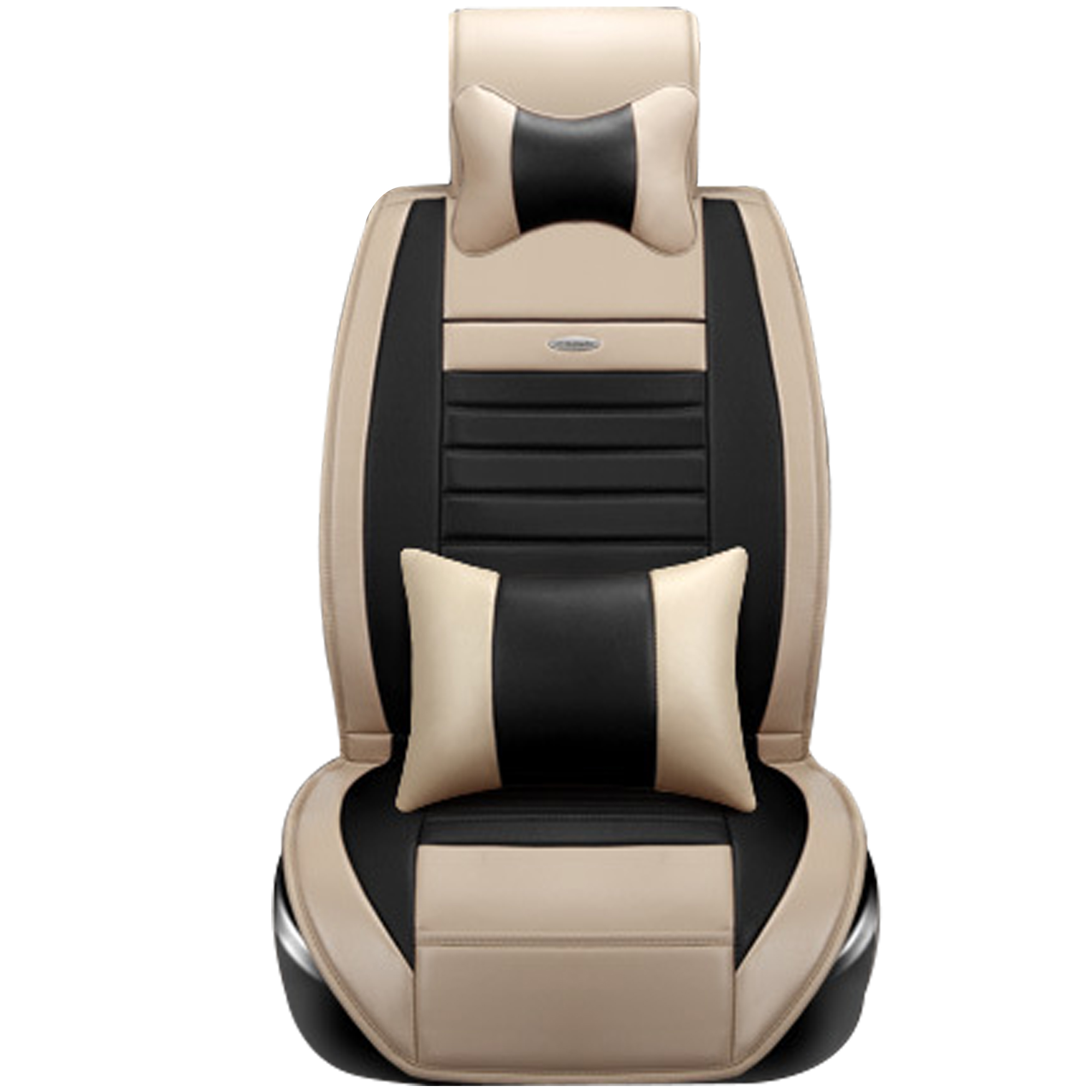 TINTON LIFE PU Leather Car Seat Covers 5 Seats Car Cushion Seat Rear Bench Cover, Beige