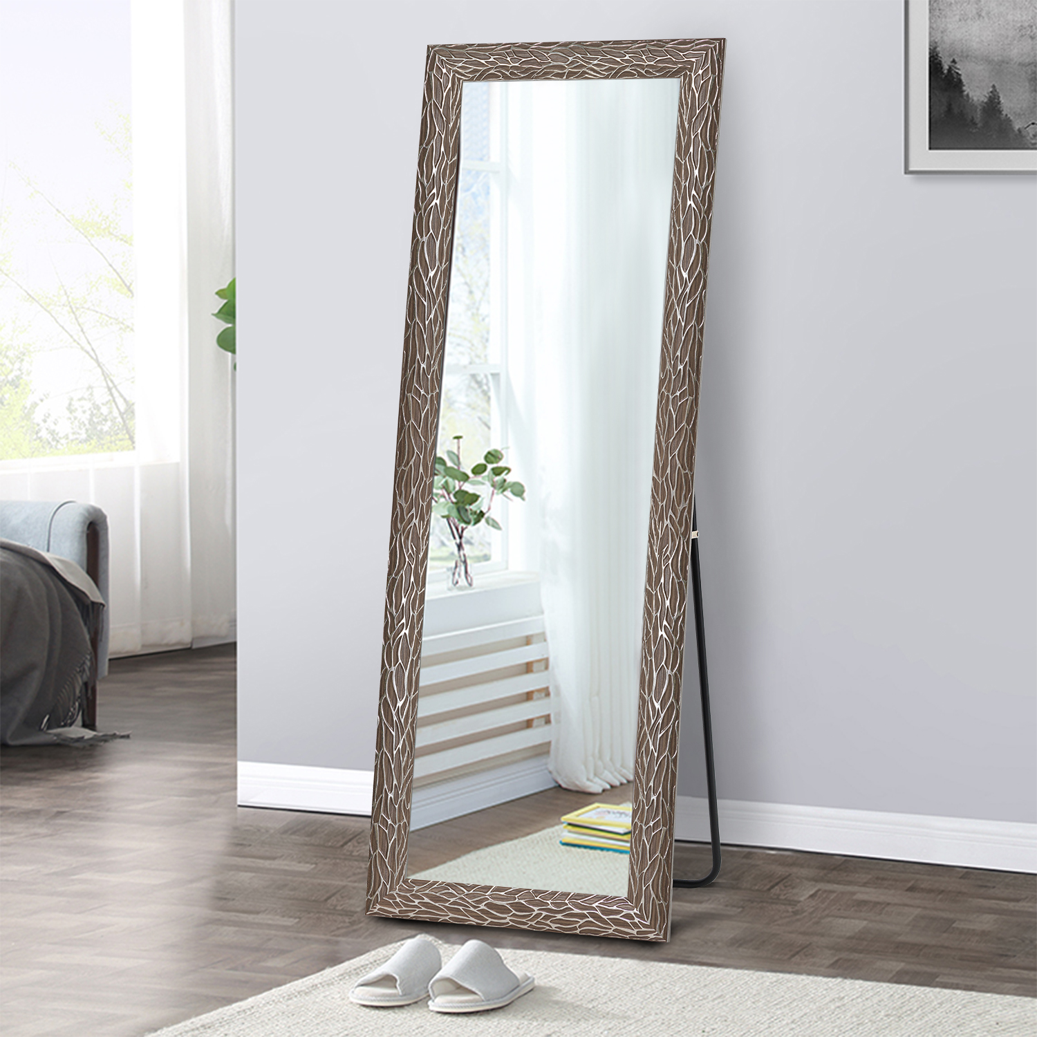 Full Length Mirror Floor Mirror With Standing Holder Wall Mounted Mirror Hanging Horizontally Vertically For Bedroom Living Room Entry Brown White Pattern 65 X 22 Walmart Com Walmart Com