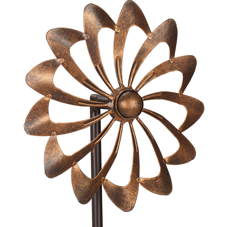 Mainstays Double Flower Metal Wind Spinner in Bronze