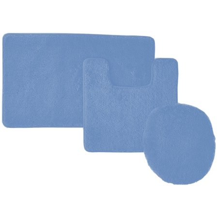 3-Piece Hailey Solid Bathroom Set Bath Mat Contour Rug Toilet Lid Cover