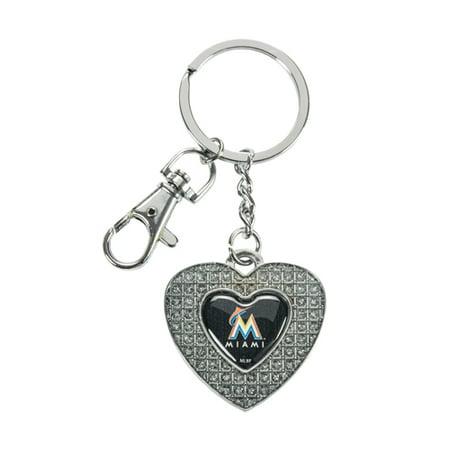Marlin Tag - Miami Marlins Glitter Stone Heart Key Chain