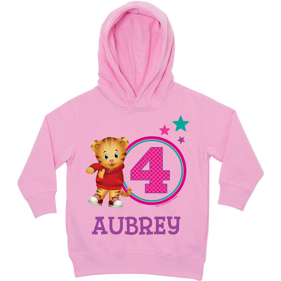 Personalized Daniel Tiger's Neighborhood Age Pink Toddler Hoodie