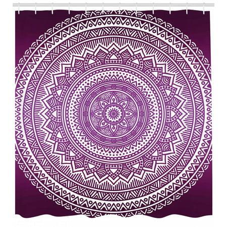Purple Shower Curtain Ombre Mandala Art Print Vibrant Floral Pattern Boho Hippie Inspired Design Fabric Bathroom Set With Hooks Purple And White