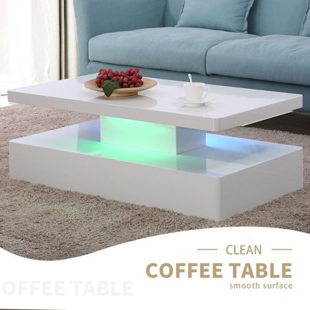 Brilliant Living Room Coffee Table High Gloss Led Light With Remote Control White Home Remodeling Inspirations Cosmcuboardxyz