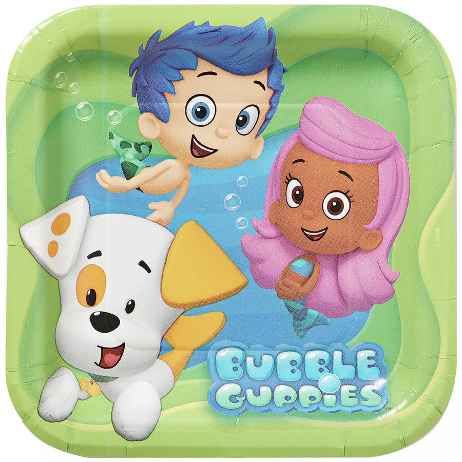 "Bubble Guppies 7"" Square Plates, 8 Count, Party Supplies"