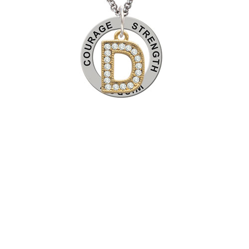 Crystal Gold Tone Initial