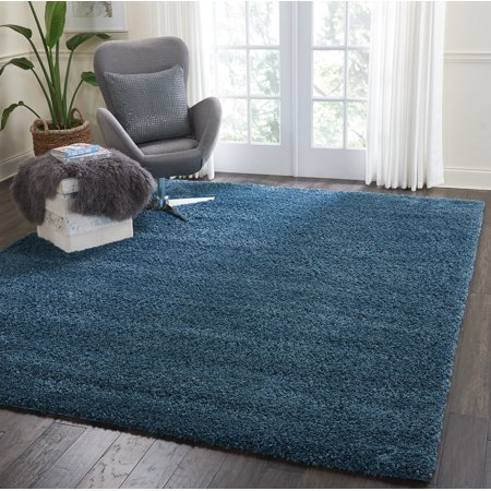 Malibu Shag Solid Blue Area Rug Aruba Blue Area Rug