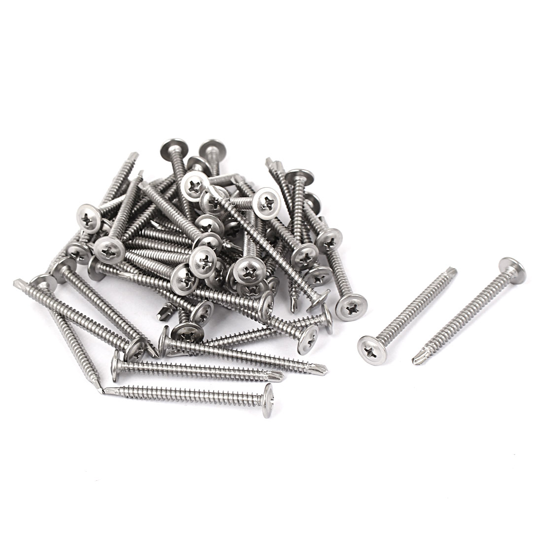 Unique Bargains M4.2x50mm Stainless Steel Round Phillips Head Self Drilling Screws 50pcs - image 1 of 1