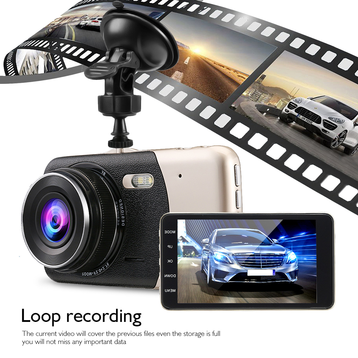 """4"""" Camera Parking Monitor TFT 170° Full HD 1080P Night Vision Dash Cam Car Driving Video Recorder DVR + Front Rearview Camera Wide Angle, G-Sensor, WDR, Motion Detection"""