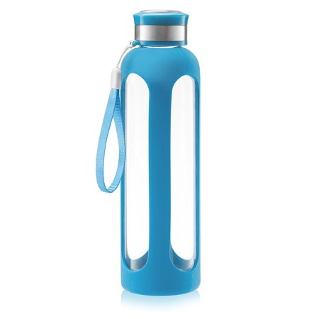 Swig Savvy Glass Water Bottle 32oz Break-resistant Borosilicate Glass + Silicone Protective Sleeve. BPA-Free Durable & Stylish
