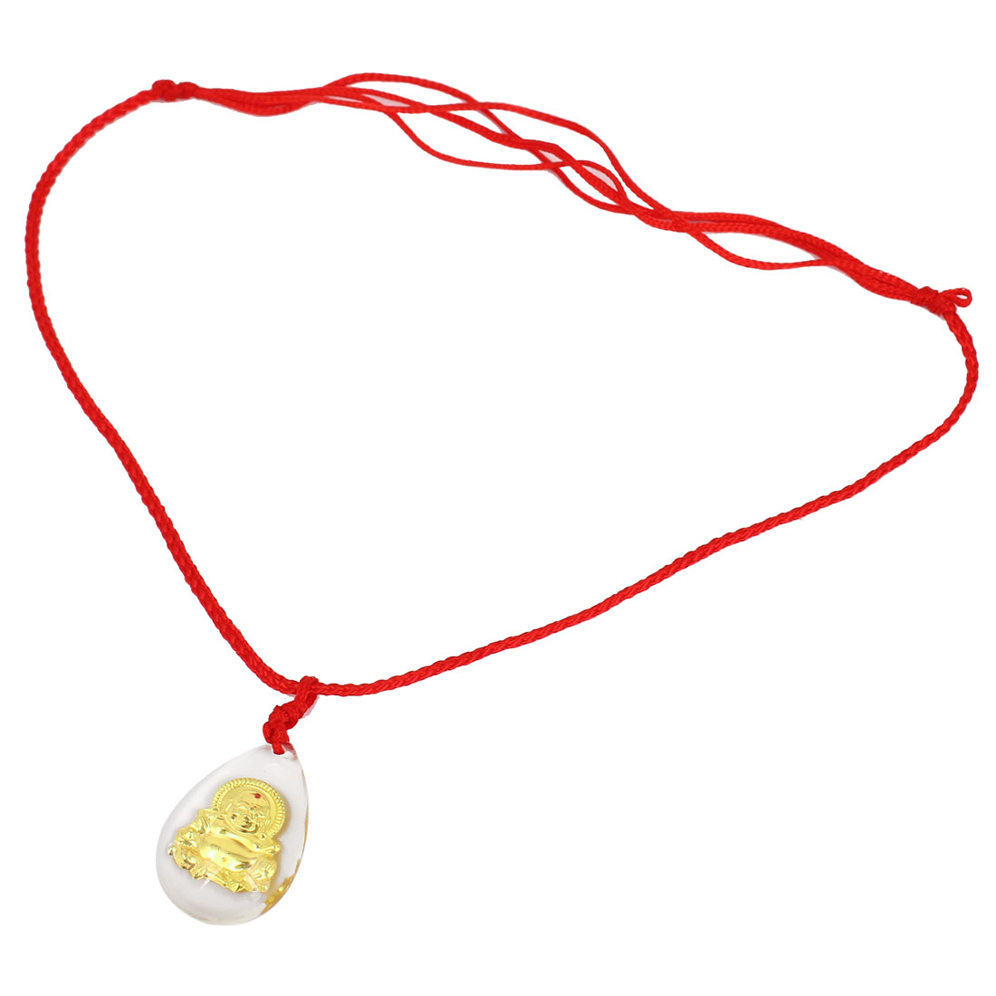 Red Handmade Adjustable Nylon Braided Rope Gold Tone Buddha Pendant Necklace
