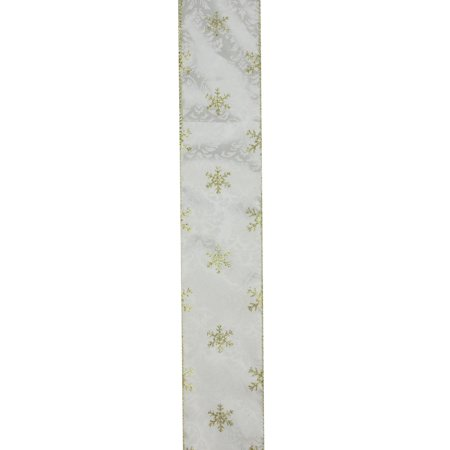Twinkling Gold Snowflake Printed White Wired Christmas Craft Ribbon 2.5