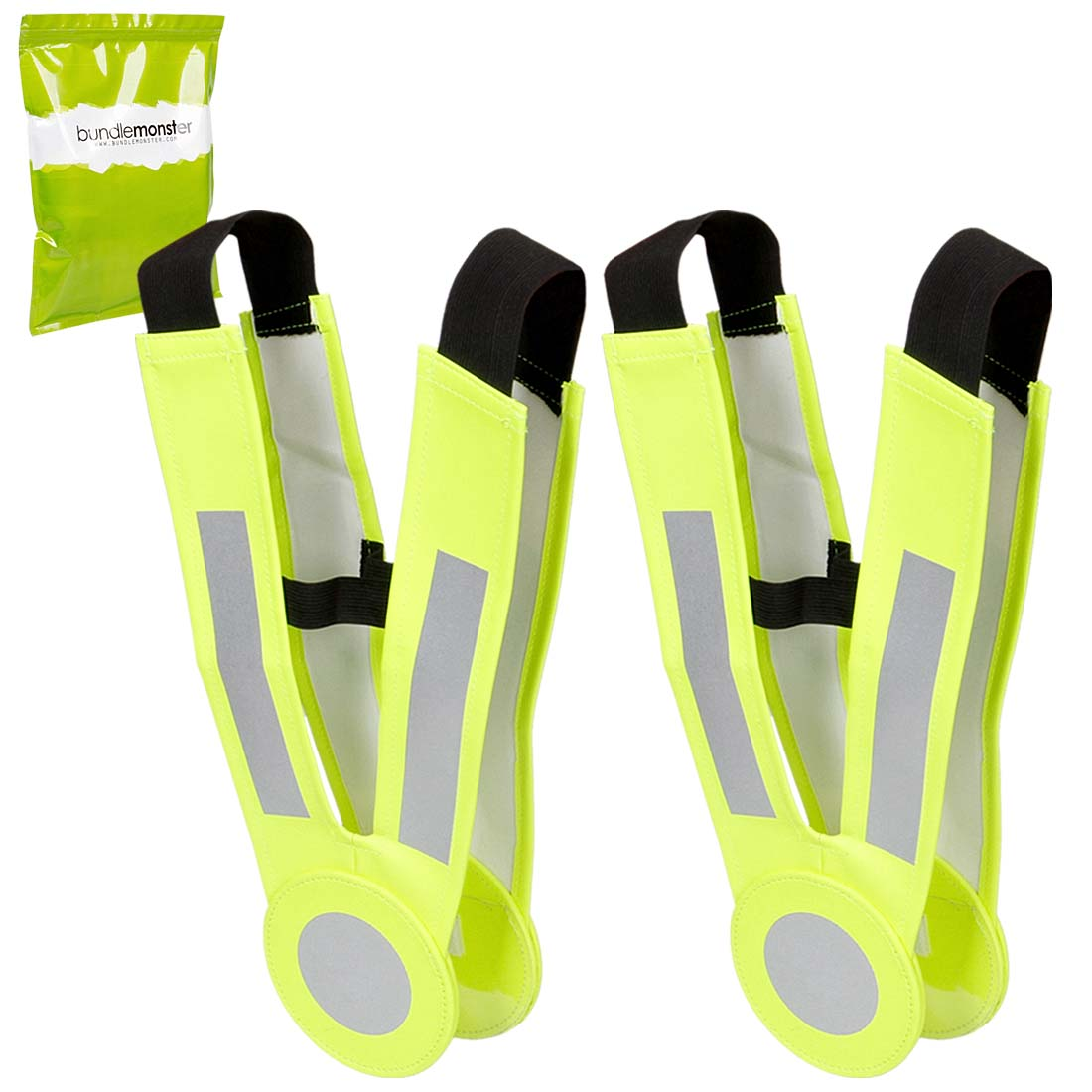 RoryTory 2pc Kids Outdoor Sports Neon Yellow and Silver Reflective Safety Belts