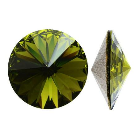 Olivine Austrian Crystal - Swarovski Crystal, #1122 Rivoli Fancy Stones 12mm, 4 Pieces, Olivine Sf