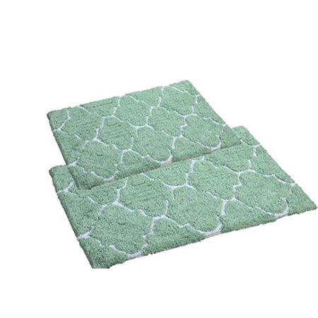 Affinitylinens Dtl2pc Sge Home Collection Moroccan Trellis 100 Percent Cotton Bath Rug Set Sage