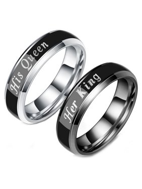 cd00cd95b Product Image Couple's Matching Ring Her King and His Queen Color Changing  His and Her Matching Wedding Band