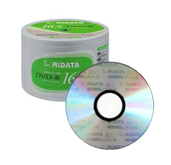 100 Ritek Ridata 16X DVD-R 4.7GB (RiData Logo on Top)
