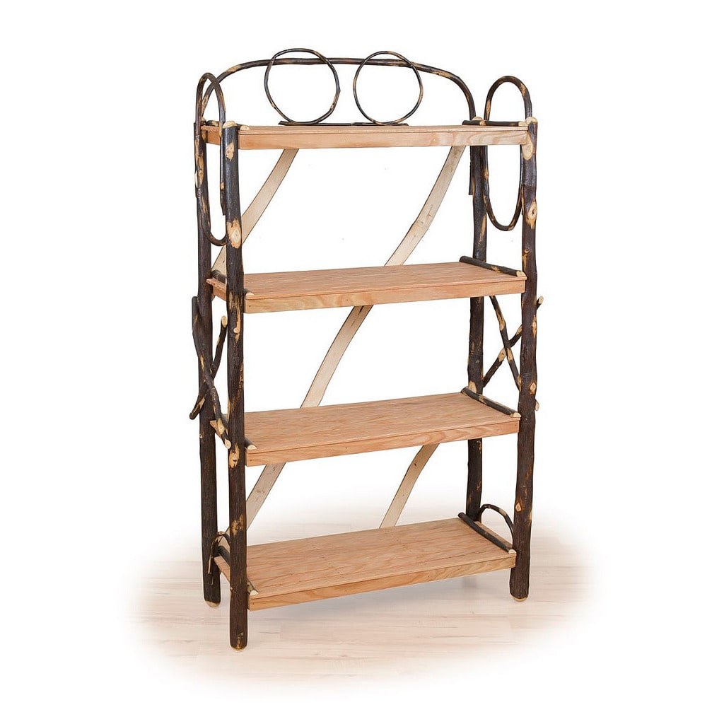 Kunkle Holdings LLC Rustic All Hickory OR Hickory & Oak Four Shelf Fancy Book Case