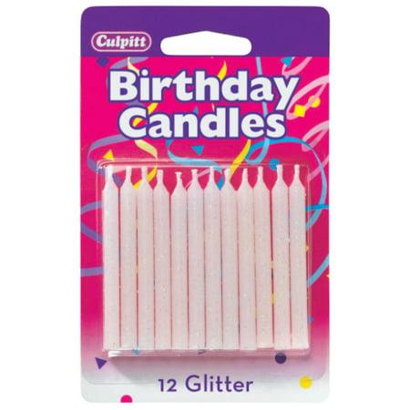 12 White Glitter Candles
